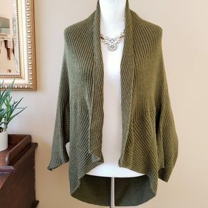 Zara Knit Cocoon Ribbed Knit Olive Green Cardigan